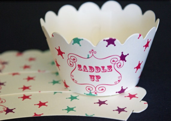 Set of 12 Pink Cowgirl Birthday Party Cupcake Wrappers