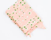 Peach Scarf with Green and White Abstract Flowers