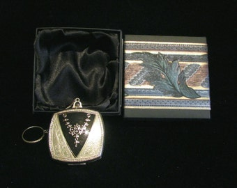 Vintage Evans Compact Purse Art Nouveau Enamel Powder Rouge Compact Dance Purse Finger Ring