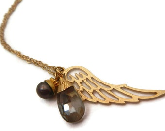 Crystal Angel Wing Necklace, Gold Angel Wing