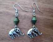 Green Wood and Silver Dangle Elephant Earrings