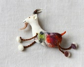 Friedrich -  Felt Goat. Felted Animal, Art Marionette, Puppet, Stuffed Animals. Felted Toy. whtite, red green. Special order for  Marie