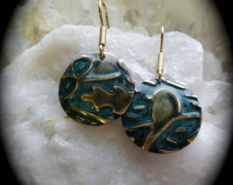 Bird jewelry gardener gift , embossed patina handmade art jewelry, totem birds, holiday gift ideas, blue green earrings birds, jewelry bird