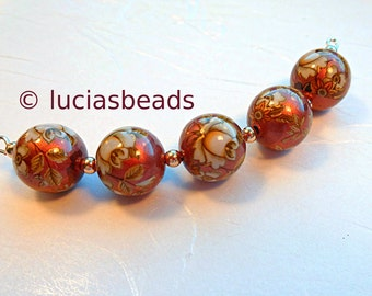 Antique White Rose Japanese Tensha Beads  on Copper Set in 12 MM  (TBWRC012)