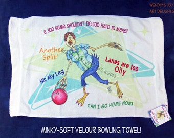 Bowling Crying Towel  Soft Colorful Funny Bowling Excuses Teams Retro Style