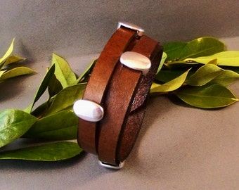 Vintage Brown Leather Bracelet With silver Accents