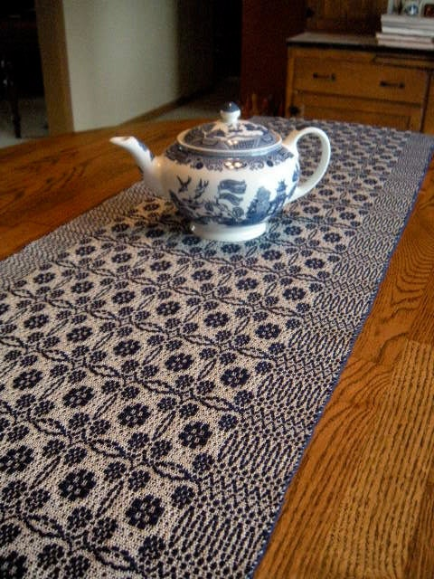 Table Runner Handwoven Overshot Pattern Cobalt Blue And