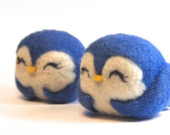 Bluebird - Needle Felted Bird - Bluebird of Happiness :) Wool Ball Bird Ornament