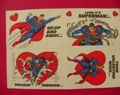 Vintage Superman Valentine Cards Sheets of 4 Different Images from 1992
