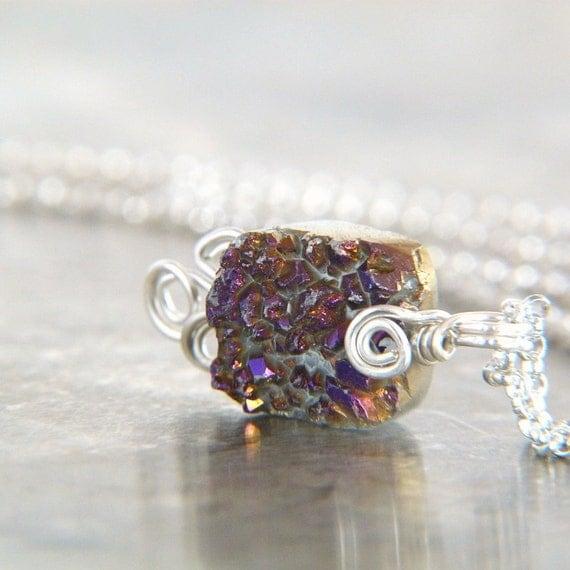 Merlot Purple Druzy Pendant Necklace - Silver Filled Wire Wrapped Agate Geode in Purple - Wire Wrap Jewelry