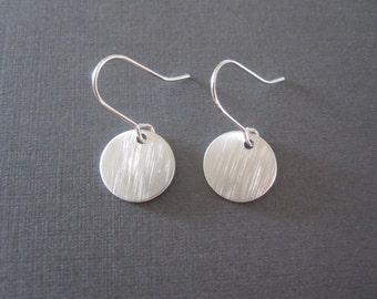 White Gold Disc Earrings