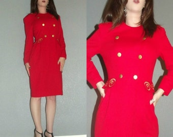 MOD XS S Vtg 60s 70s Long Sleeve Red Space Age Twiggy Military Peacoat Career Dress