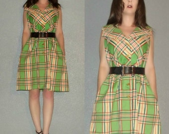 Mod SM Vtg 60s Green Orange Plaid Button Front Space Age Twiggy Pocketed Mini Dress