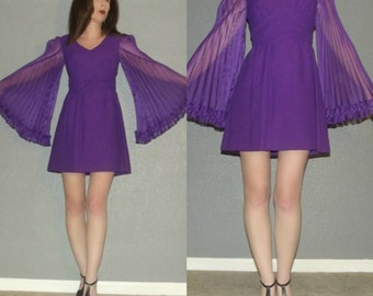 XS S MOD Vtg 60s Purple Sheer Accordian Angel Bell Sleeve Space Age Twiggy Micro Mini Dress