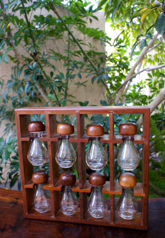 Unique Wooden Mid Century Modern Spice Rack Glass Spice Jars