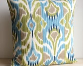 Blue and Green Ikat Pillow Cover - 16 x 16 Ikat Cushion Cover - Ikat Wave Lush
