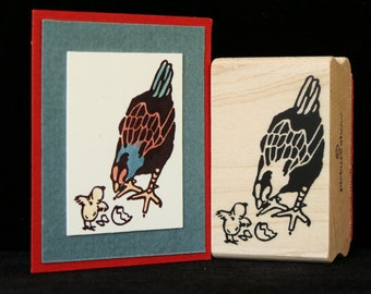"chicken rubber stamp ""hen and chick"""