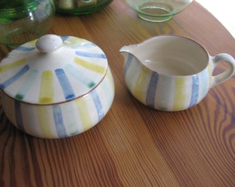 1950s Danish Cream and Sugar Set MARKED POTTERY