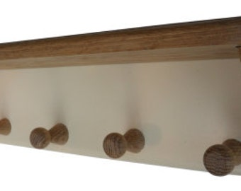 Solid Oak and Cream Shelf with Hooks