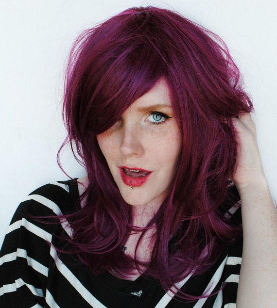 Auburn Purple Hair Wig // purple magenta hair
