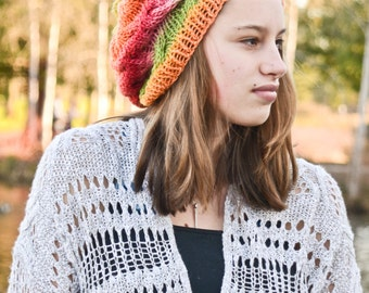 Very Cute Rainbow Cable Knit Slouch Hat