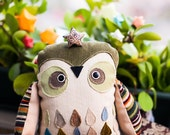 Jean - Jacques owl,  soft art toy creature  by  Wassupbrothers.