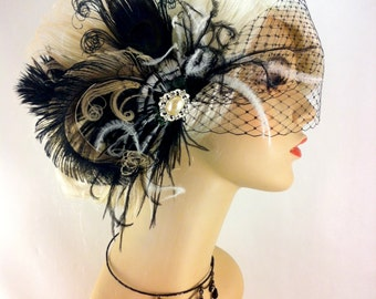 Feather Bridal Fascinator, Bridal Fascinator, Bridal Headpiece, Black and Ivory, Victorian Gothic Inspired