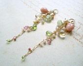 Pink Green Cluster Earrings, Boho Gemstone Dangle, Pink Peruvian Opal Earrings, Long Pink Dangle Earrings, Pink Green Cluster Dangle