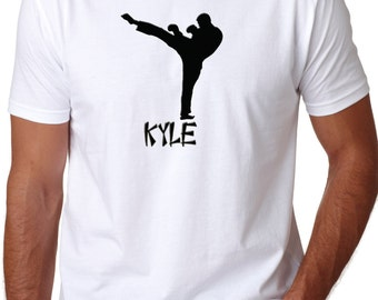 Adult Karate Shirt - TaeKwonDo Shirt personalized boy silhouette Adult T-Shirt Martial Arts Fighter - Adult Shirt