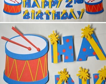 Baby Boy First Birthday Music Party BANNER - Party Decoration,Musical Instruments, Baby Shower - CUSTOM Name/Age (20 letters)