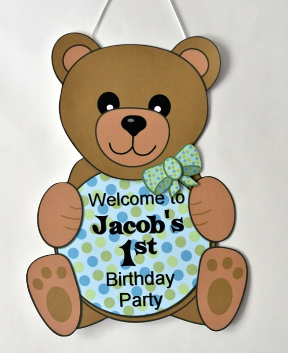Teddy Bear Baby Shower or First Birthday Party Decorations- DOOR SIGN, personalized, custom