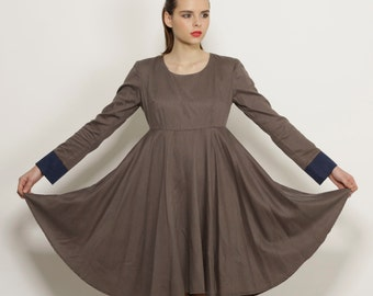 Long sleeve dress, knee length dress, Brown elegant dress, short dress, mini dress, linen cotton dress,