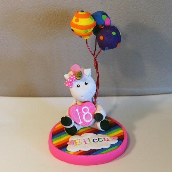 Custom Rainbow Unicorn Cake Topper for Birthday or by carlyace