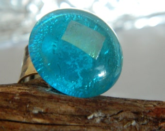 Fused Glass Ring Aqua Blue and Silver Adjustable Ring