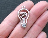 4 Lightbulb Charms Antique  Silver Tone 2 Sided - SC1643