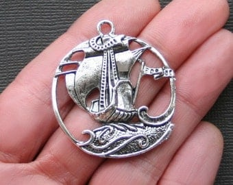 2 Tall Ships Charms Antique  Silver Tone Detailed Nautical - SC2147