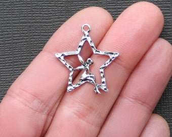 10 Fairy Charms Antique  Silver Tone Intricate and Dainty Sitting in Star - SC2142