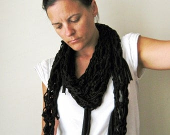 Black Womens Scarf in T Shirt Yarn