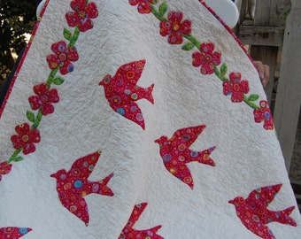 Hand Appliqued Red Birds and Flowers Quilt