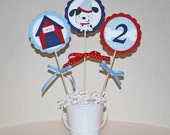Dog centerpiece - birthday party - Puppy 3 piece centerpiece, personalized, custom colors