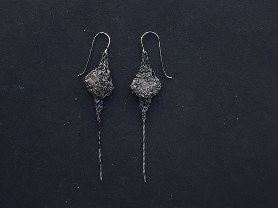 Oxidized Silver Crochet Earrings