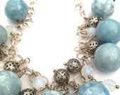 Dreams Come True Beaded Necklace With Large Soft Blue Porcelain Beads, Silver Chain, Silver Filigree And Milky White Crystals