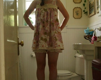Babydoll nightgown-Lazy day mini dress with sewn in bloomers and lace yoke detail