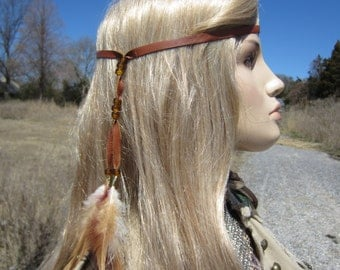 Feather Headband Hair Extension Brown Leather Wrap Ponytail Holder