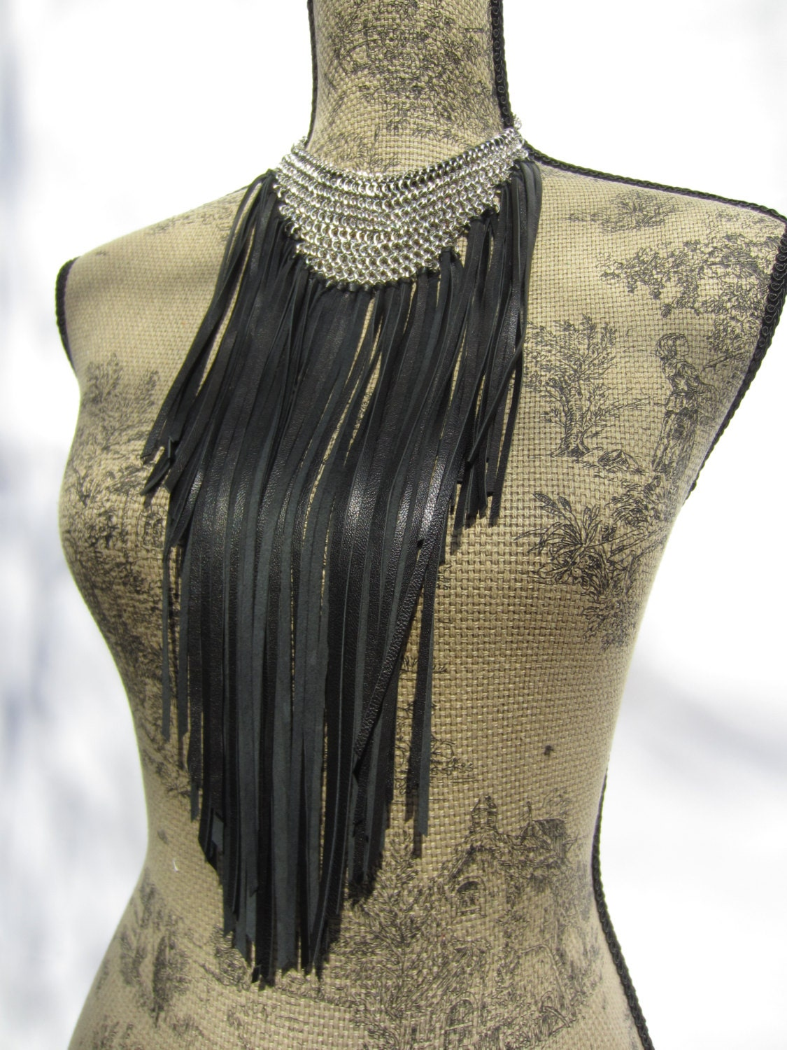 Chainmaille Leather Fringe Bib Necklace Choker Neck Cuff