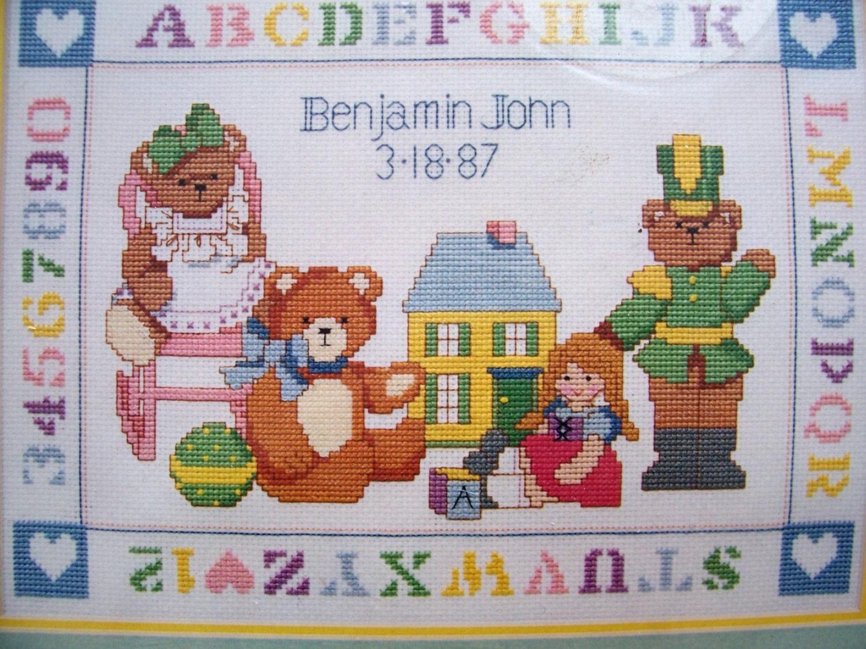 Birth Announcement with Teddy Bears Kit Cross Stitch Kit X – Baby Announcement Cross Stitch