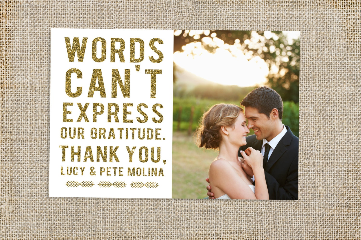 Glitter Wedding Thank You Card Design – Thank You Cards Weddings