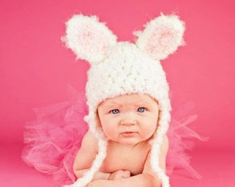 READY to SHIP - Newborn Baby Hat - Bunny  Hat - Bunny Costume Hat - Baby Bunny Hats -Photography prop -  White Rabbit Hat - by JoJosBootique