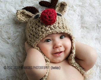 Baby Hat - Reindeer Hat - READY to SHIP Baby Reindeer Hat - Oatmeal  Reindeer Hat - Cute and Soft Earflap Hat - by JoJosBootique