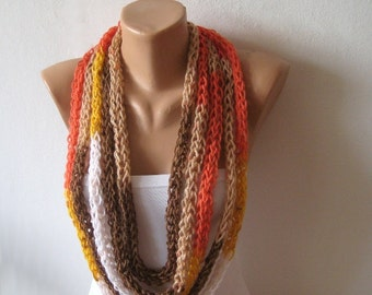 Rope Scarf Infinity Loop Necklace, Thick Endless Rainbow Loop Scarf, Brown Beige Coral White Knit Neckwarmer, Women Trendy Accessory